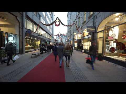 Sweden, Stockholm, walking from Stureplan via Biblioteksgatan to Norrmalmstorg