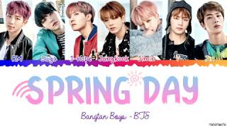 Gambar cover BTS (방탄소년단) 'Spring Day' (봄날) 🌸 Lyrics [Color Coded Han_Rom_Eng]