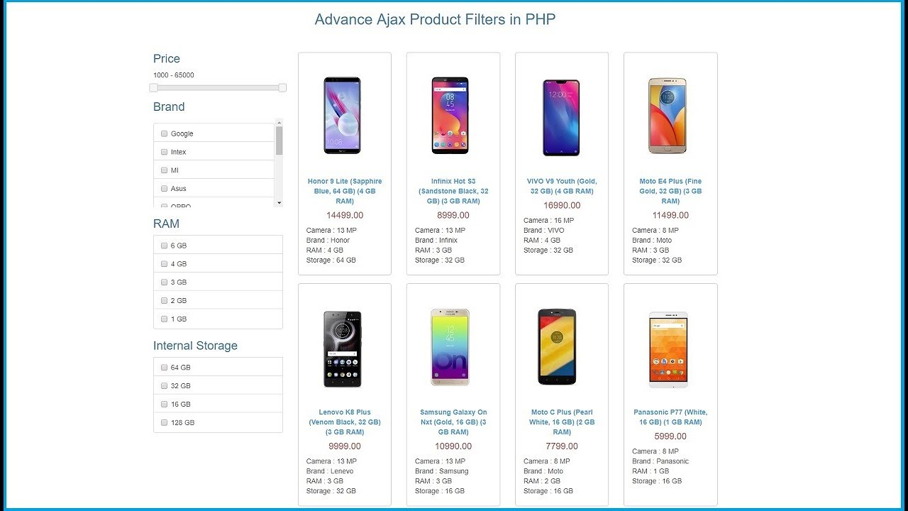 How to Make Product Filter in php using Ajax | Webslesson