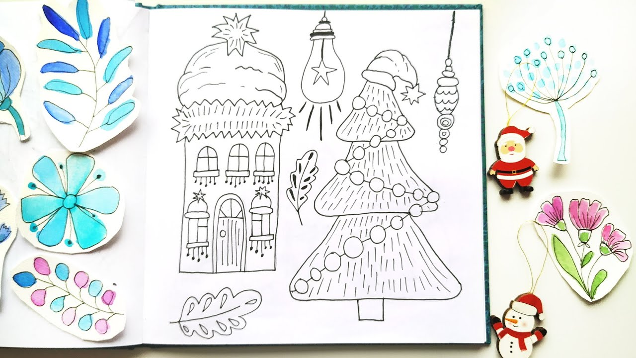 cute christmas doodles drawing ideas line art for handmade holidays cards youtube youtube