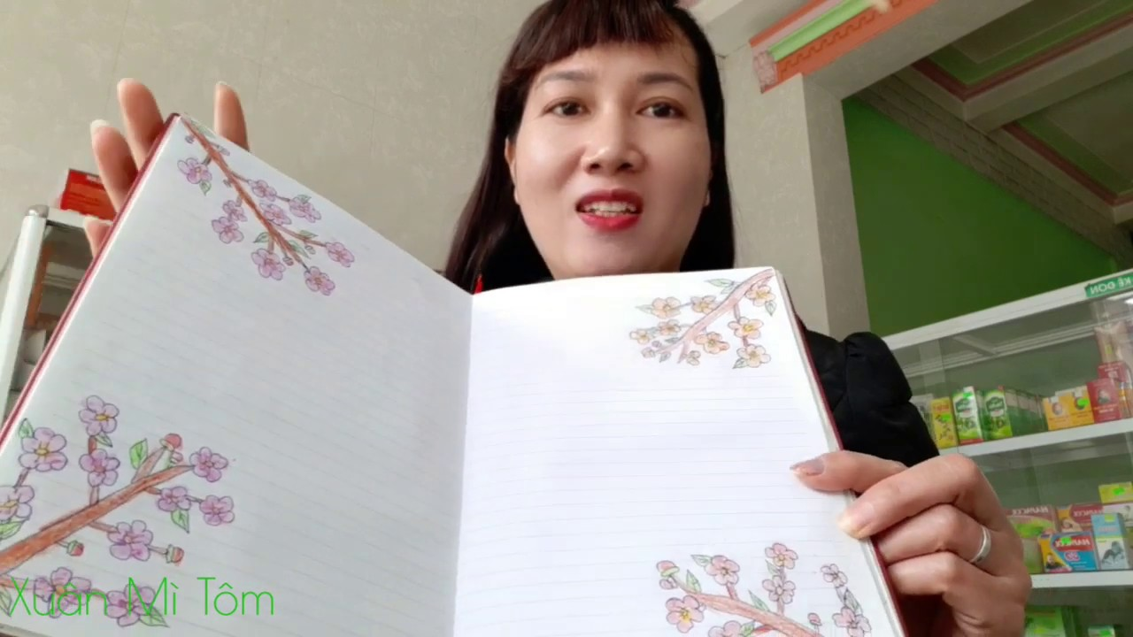 Vẽ hoa đào ngày tết với dán hình sticker thiết kế thời trang cho búp bê