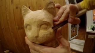 WOOD CARVING sculpture: cat