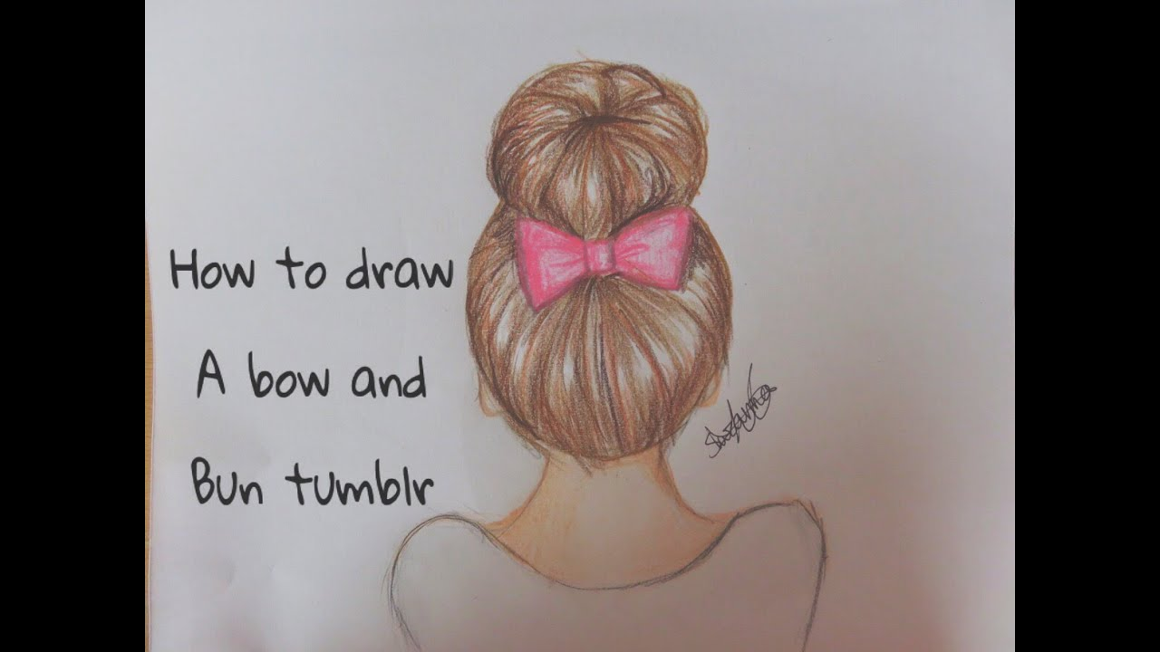 How To Draw A Bow Bun Tumblr Hair YouTube - Hairstyle drawing tumblr