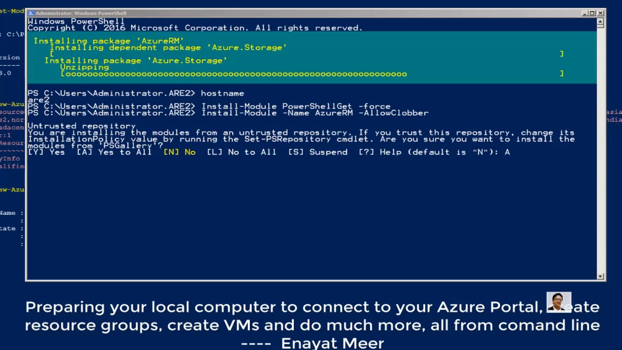 Preparing Local PC to connect to Azure Portal using PowerShell
