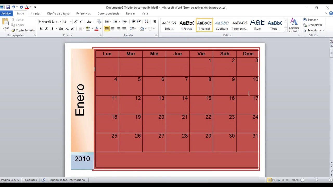 Como Hacer Un Calendario En Word.Como Hacer Un Calendario En Word 2010