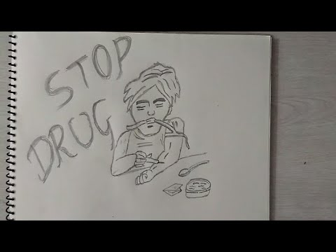 How to draw stop drug 39 s cartoon character drawing for kids for How to draw a pill