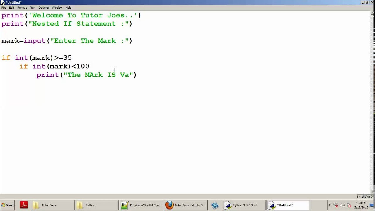 Python Tutorial : Nested If Statement In Python Tamil Part ...