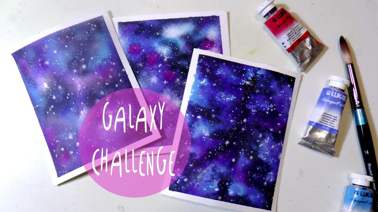 Tutorial Acquerello Come Dipingere Una Galassia Su 3 Carte Diverse