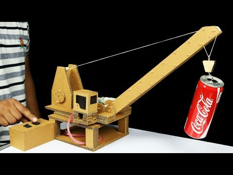 How to Make Remote Control Hydraulic CRANE From Cardboard