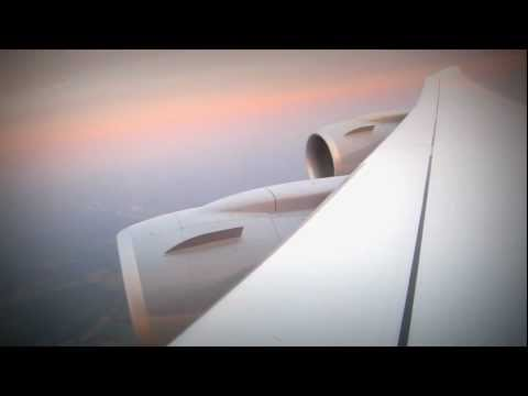 TAKEOFF: the amazing flexible wing of a Boeing 747-8 on departure from Washington Dulles