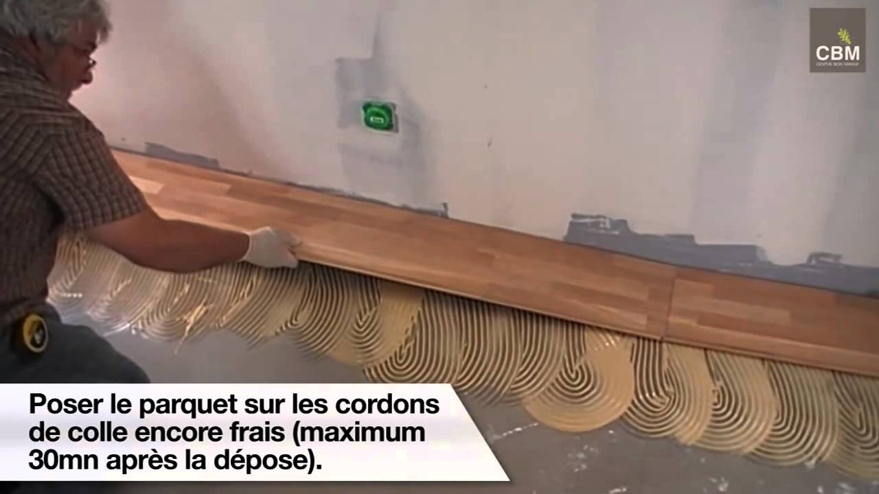 Pose d 39 un parquet coll cbm youtube for Pose parquet sur carrelage plancher chauffant