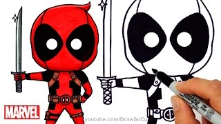 How to Draw + Color Chibi Deadpool step by step Cute Marvel Super Hero