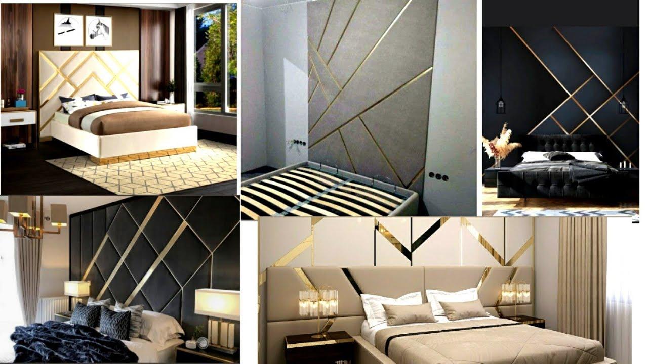 bed back side trending design with rose gold and silver strip || Rose gold strip in bed design