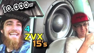 4 Skar Audio 15's on 10,000 Watts | Geralds Walled Off 15 inch ZVX Subwoofers BASS DEMO & Hair Trick