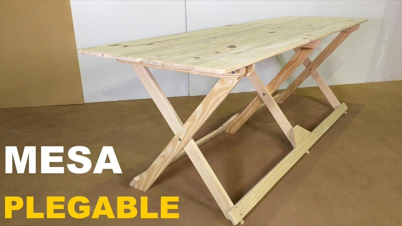 Fabricar Mesa Plegable Madera.Mesa Plegable De Madera Para 10 Personas Paso A Paso Facil De Hacer