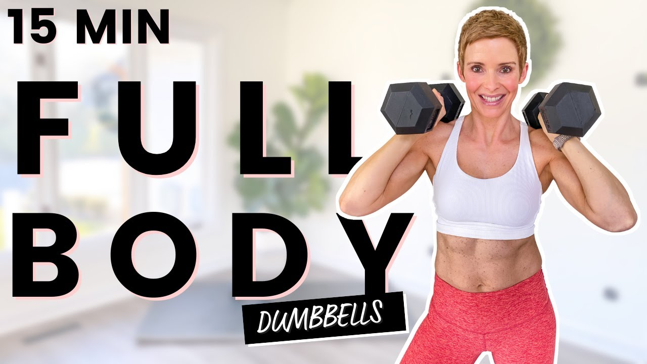 15 Min FULL BODY Workout | Core Arms and Legs with Dumbbells