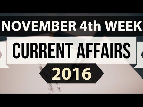 (English) November 2016 4th week current affairs MCQ (SSC,UPSC,IAS,IBPS,RAILWAYS,Bank,CLAT,RRB) GK