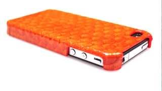 Orange Tilapia Leather Snap On Case For Iphone 4/4s