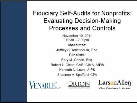 Fiduciary Self-Audits for Nonprofits - November 10, 2011
