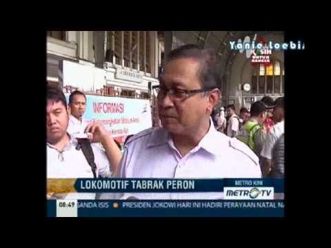 Berita Terbaru 27 Desember 2014 -LOkomotif Jalan Sendiri, Tabrak Peron