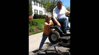 how to unload a riding lawnmower off a truck redneck style