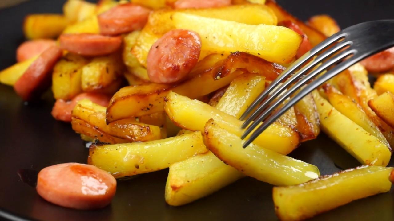 Жареная картошка с сосисками — ДЁШЕВО, ПРОСТО и ВКУСНО