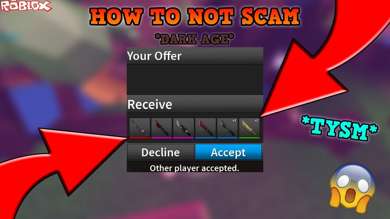 How To Scam In Roblox Assassin How To Not Scam Dark Age Edition Roblox Assassin How To Not Scam Mythic Knife Crazy Gift Youtube