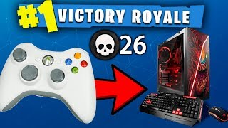 HE USES XBOX CONTROLLER ON PC FORTNITE!! (RANDOM DUOS WIN)