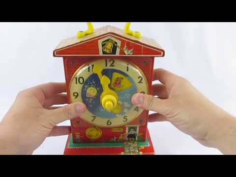 Vintage 1962 1968 Fisher Price Music Box Teaching Clock Toy #998