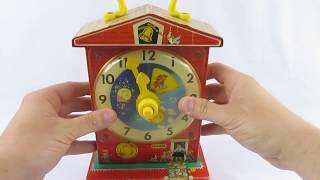 Vintage 1962 1968 Fisher Price Music Box Teaching Clock Toy #998
