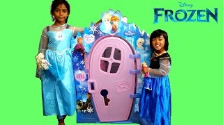 elsa and anna build a frozen playhouse   fun playtime disney kids toy surprise   role play