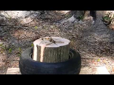 Splitting wood with a tire? This trick saves a lot of work.