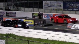 2015 Lamborghini Huracan vs 2014 Ferrari 458 Spider 1/4 Mile Drag Racing
