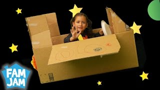 Space Adventure with Cardboard Spaceship | FAM JAM