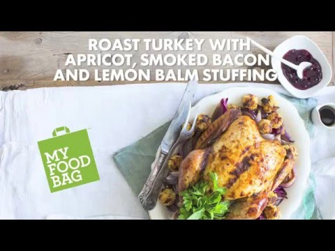 Roast Turkey with Apricot, Smoked Bacon and Lemon Balm Stuffing