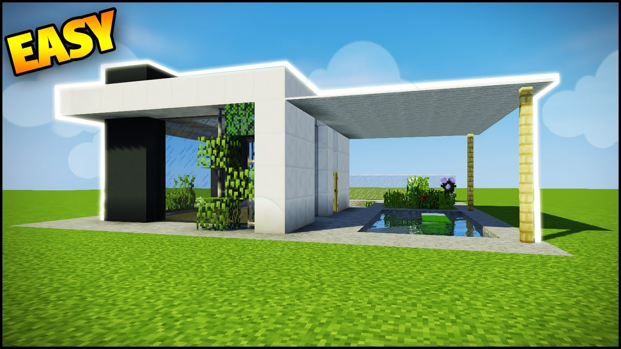 minecraft how to build a modern house easy tutorial how to build