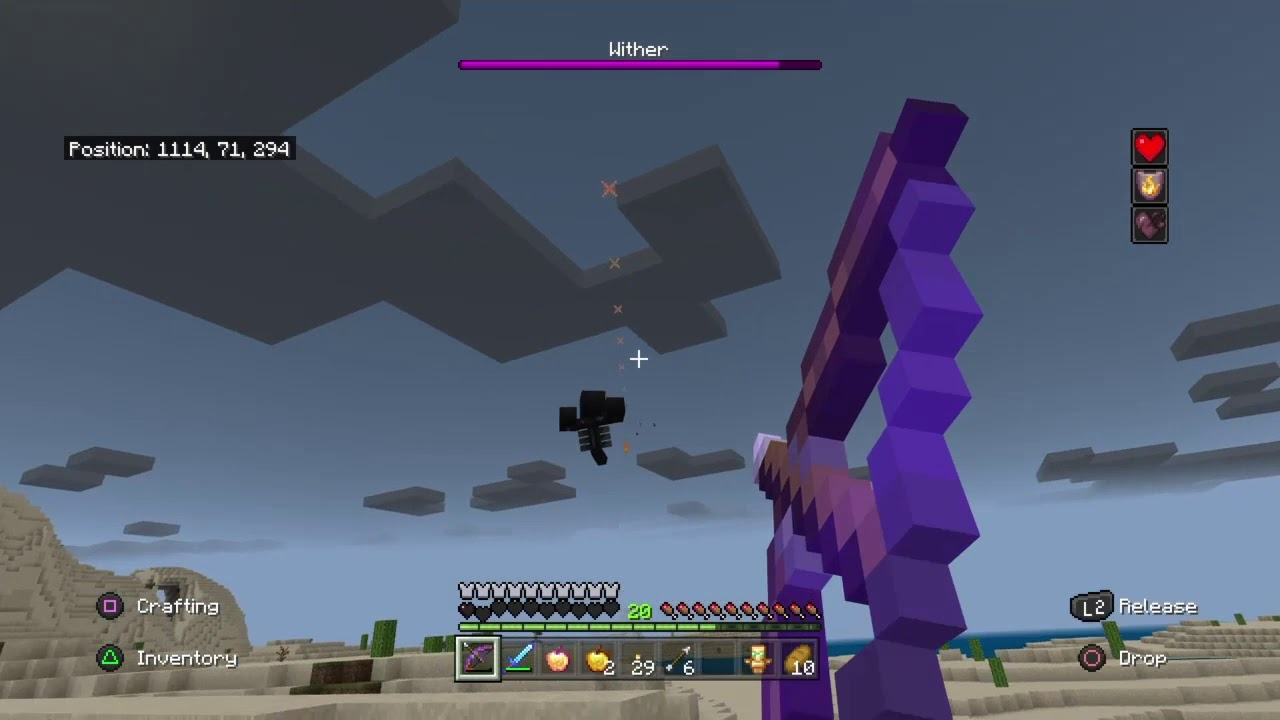 Wither Fight Bedrock Edition (Hard mode) - YouTube