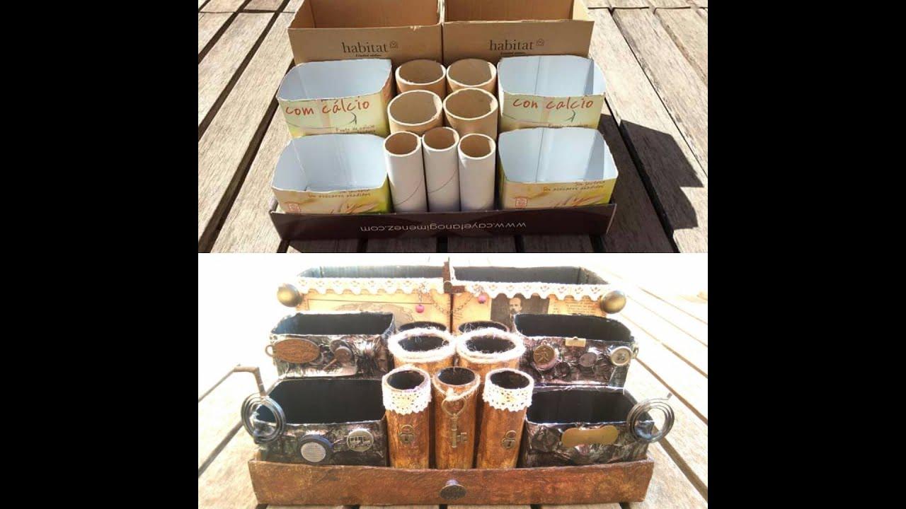 C mo hacer un organizador de escritorio vintage reciclando - Organizador escritorio ...