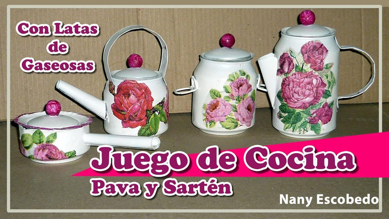 Juego de cocina con latas de gaseosas pava y sart n for Juego9s de cocina