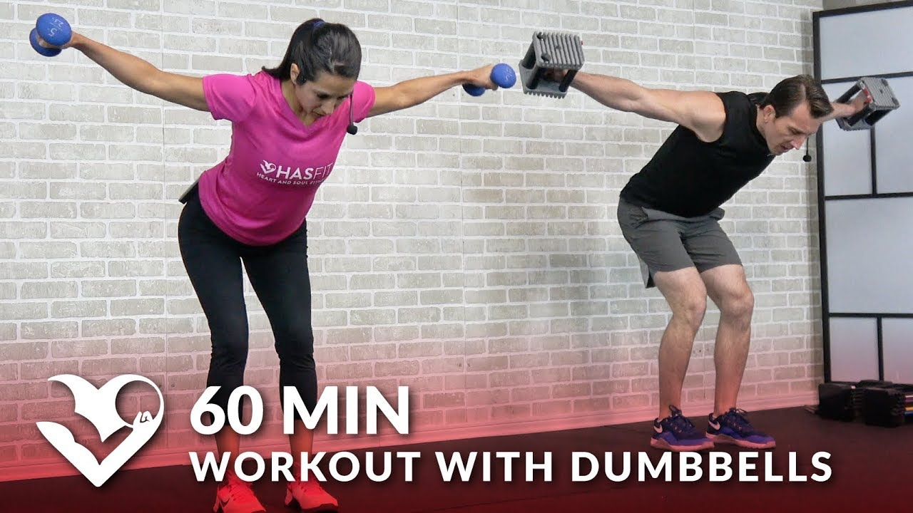 60 Min Workout with Dumbbells - Full Body Workout for Strength - Total Body Workout with Weights