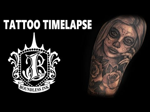 Tattoo Timelapse  Day of the Dead half sleeve by Lee Kennedy
