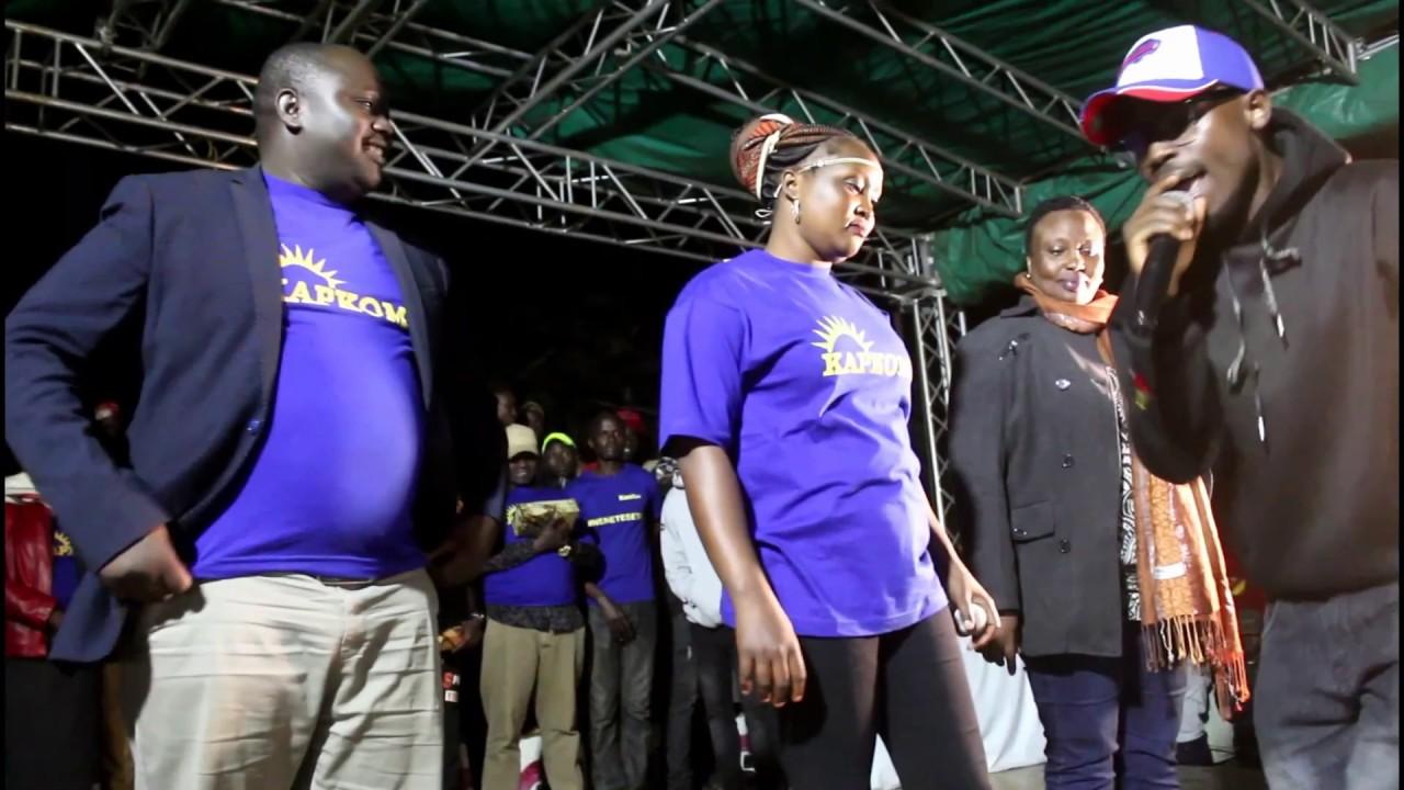 Repeat Kapkoma Lady with real Kijana Fupi at Video Launch by Kapkoma