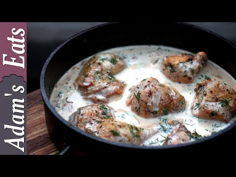Chicken in a creamy white wine sauce with dill | Chicken recipes