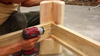 Simple But Amazing Woodworking Ideas // An Incredibly Strong And Easy Bed Out Of Stumps And Pallets