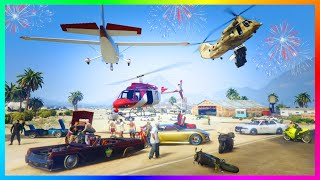 GTA ONLINE FREE MODE - EARLY INDEPENDENCE DAY SHOWCASE, YACHT FIREWORK PARTIES & CHILIAD JUMP!