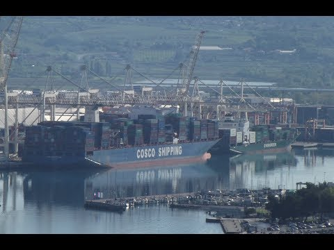 Port of Koper and giant container vessel COSCO Shipping Panama