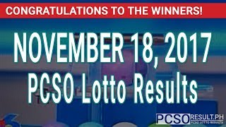 PCSO Lotto Results Today November 18, 2017 (6/55, 6/42, 6D, Swertres & EZ2)