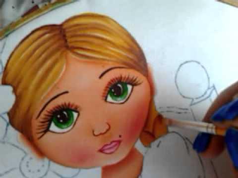 Pintura en tela niña con flores # 2 con cony - YouTube