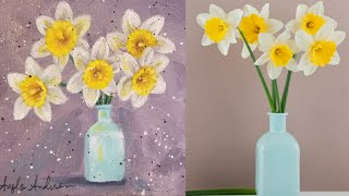Daffodils Flower of the Month Series Acrylic Painting LIVE Tutorial