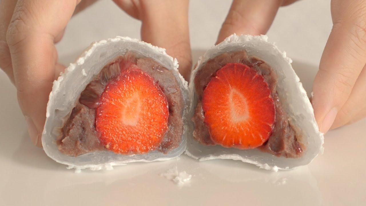 라이스페이퍼로 딸기찹쌀떡 만들기 (재료는 단 4가지!)│Making Strawberry rice cake with rice paper.🍓